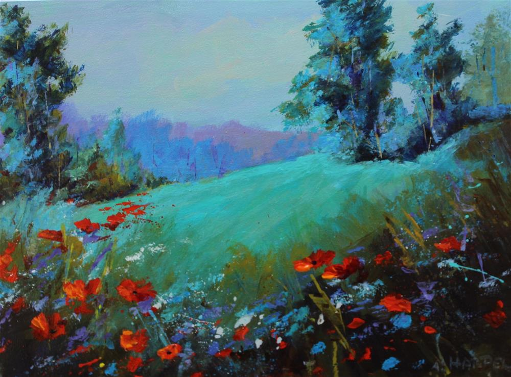 """Original acrylic wildflower poppy landscape painting"" original fine art by Alice Harpel"
