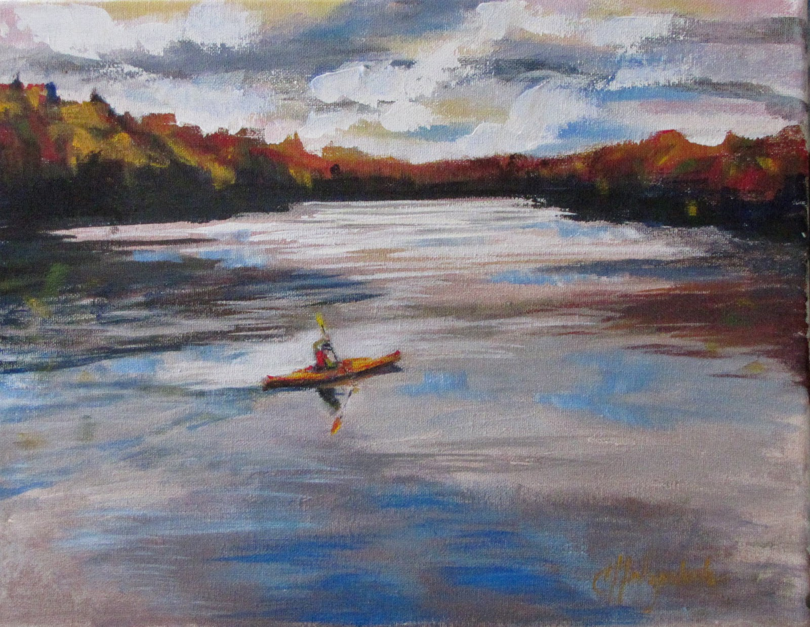 "Quiet Kayak Morning acrylic 12""x16"" #358 landscape original fine art by Christine Holzschuh"