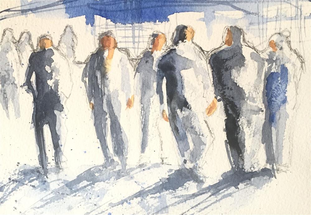 """WALKING ON THE STREET"" original fine art by Ferran Llagostera"