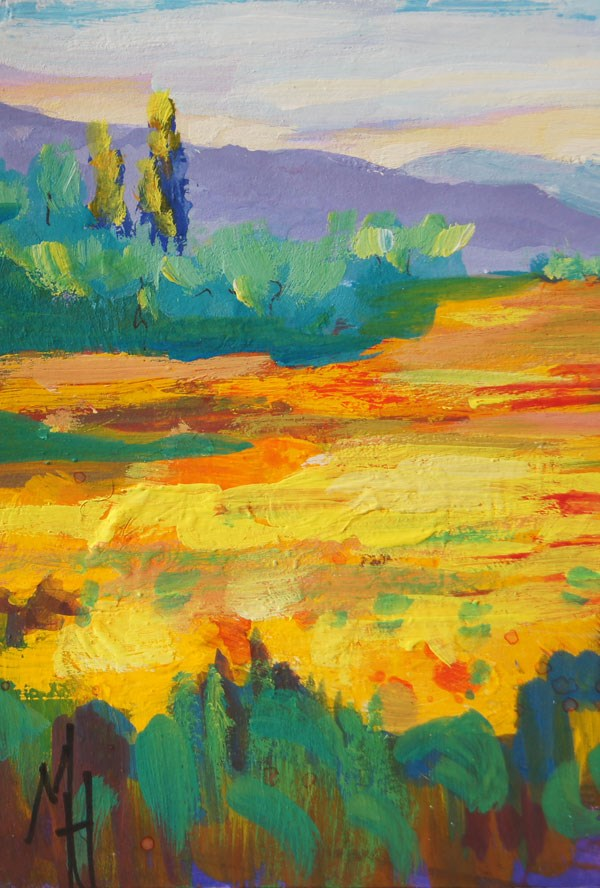 """Sunflower fields 1 gouache ACEO"" original fine art by Marion Hedger"
