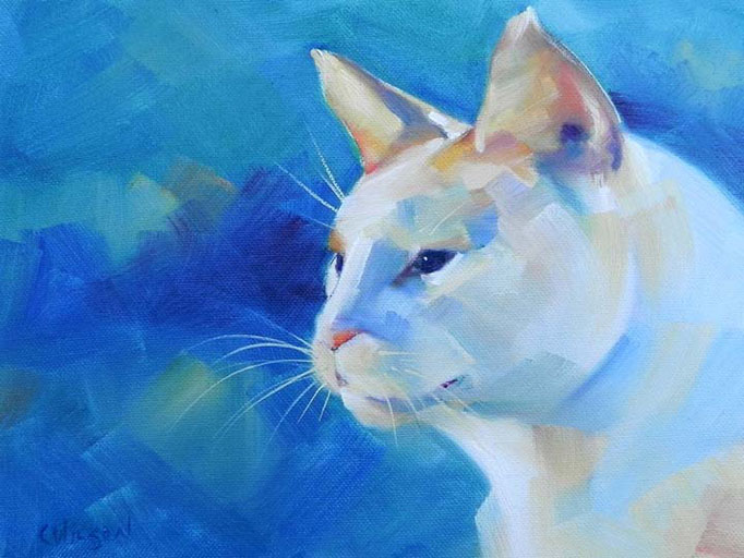 """Blue Cat"" original fine art by Cheryl Wilson"