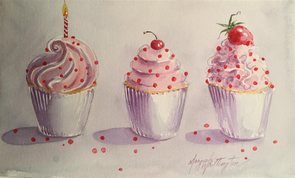 """Cupcakes with Red Sprinkles"" original fine art by Margie Whittington"