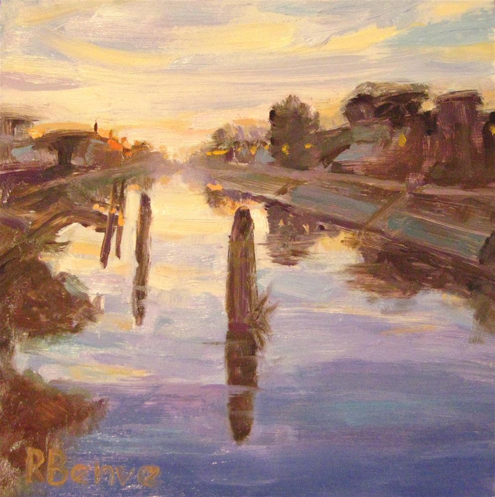 """Sunset on River Brenta"" original fine art by Robie Benve"