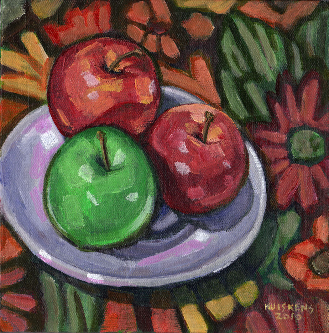 """Green And Red Apples No. 4"" original fine art by Randal Huiskens"