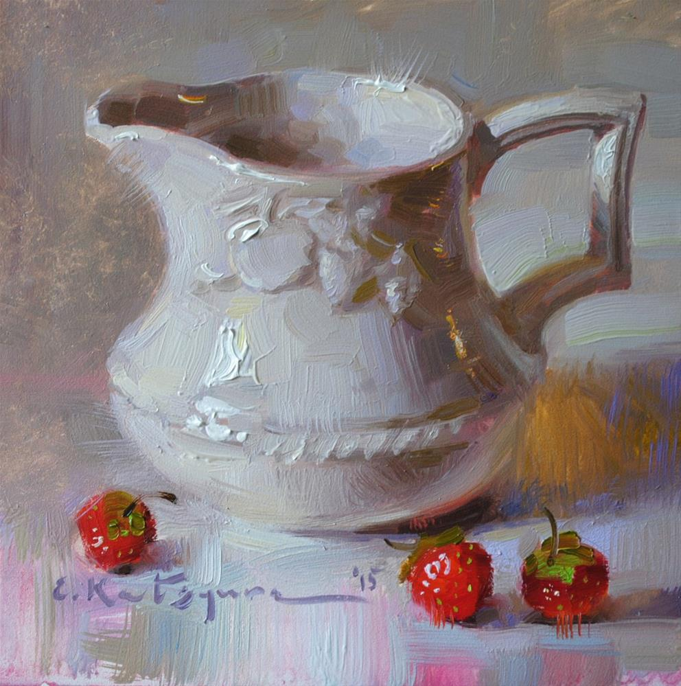 """Creamer and Strawberries"" original fine art by Elena Katsyura"