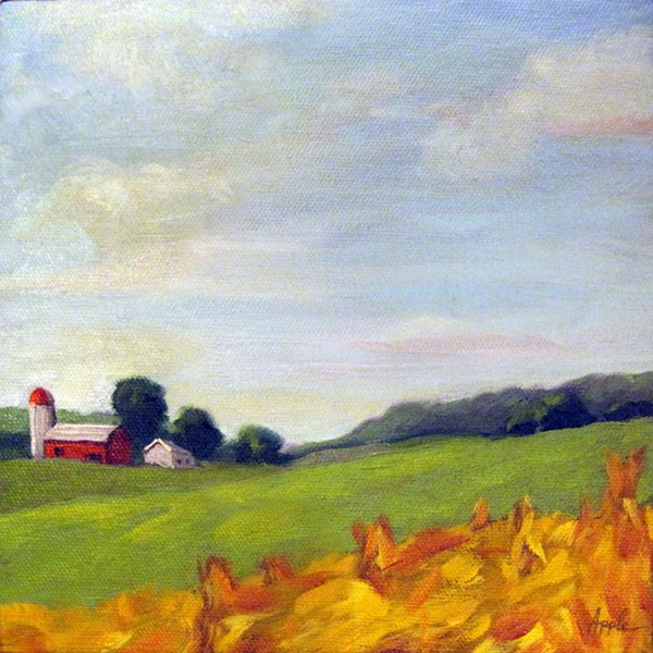 """Country living oil landscape farm"" original fine art by Linda Apple"
