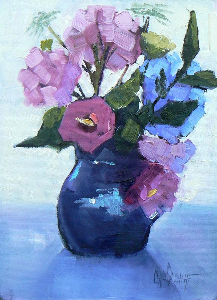 """Floral Still Life Series, #2, Daily Painting, 6x8"" original fine art by Carol Schiff"