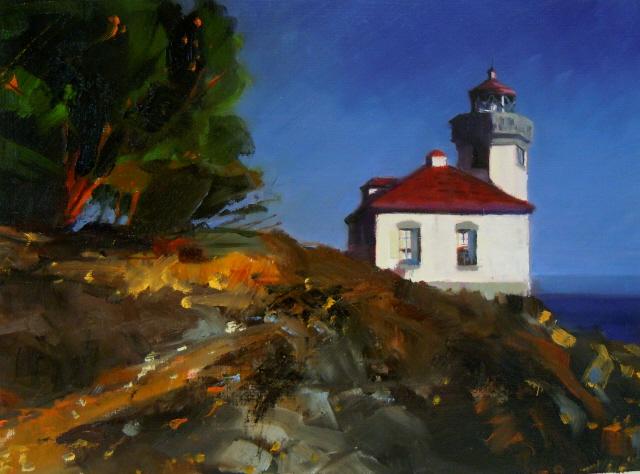 """Lime Kiln Lighthouse  Orcas Island, lighthouse oil painting"" original fine art by Robin Weiss"
