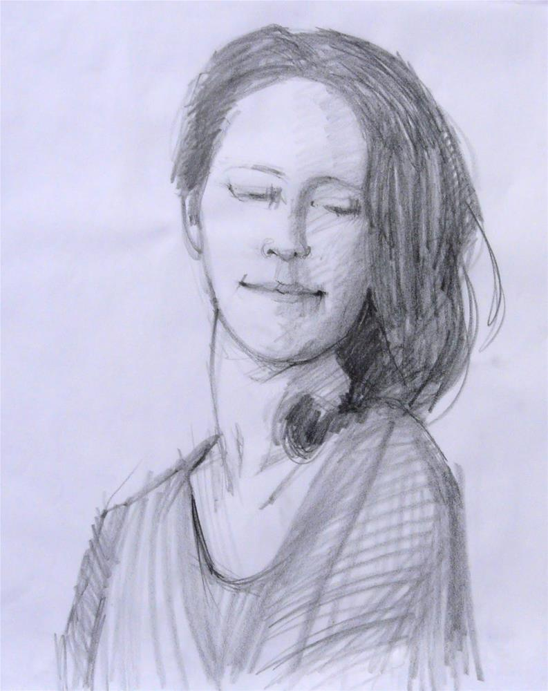 """Model,portrait,graphite on paper,17x14,price$100"" original fine art by Joy Olney"