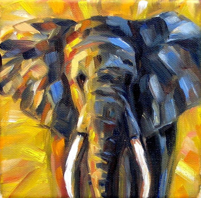 """Elephant at Sunset"" original fine art by Irina Beskina"