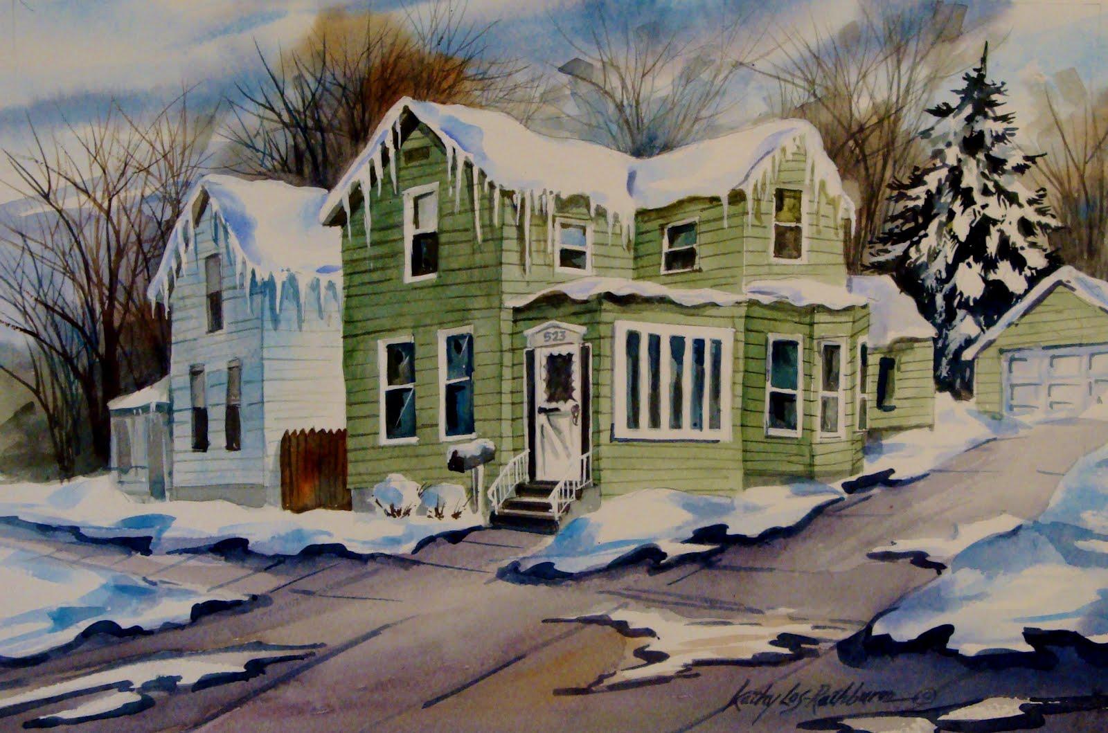 """""""House Portrait"""" original fine art by Kathy Los-Rathburn"""