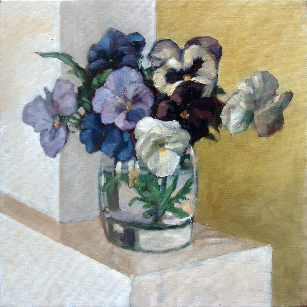 """Pansies blue"" original fine art by Myriam Kin-Yee"