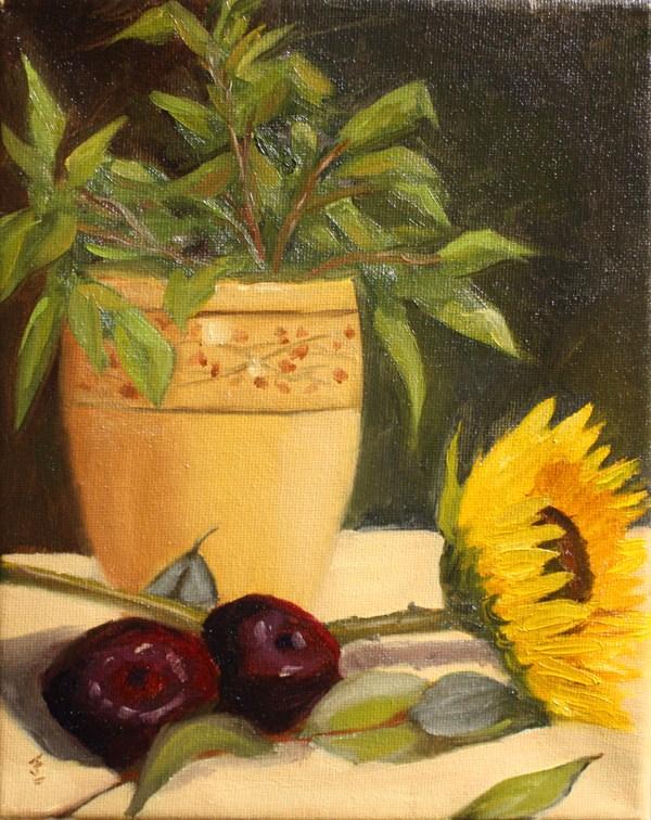 """Plum Assignment"" original fine art by Jane Frederick"