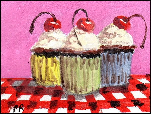 """Chocolate Cherry Cupcakes"" original fine art by Patricia Ann Rizzo"