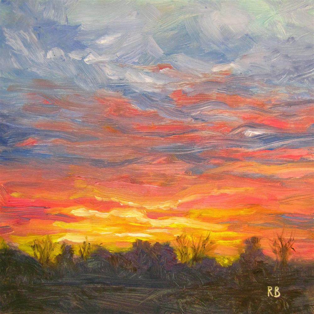 """Joyful Sunset"" original fine art by Robie Benve"