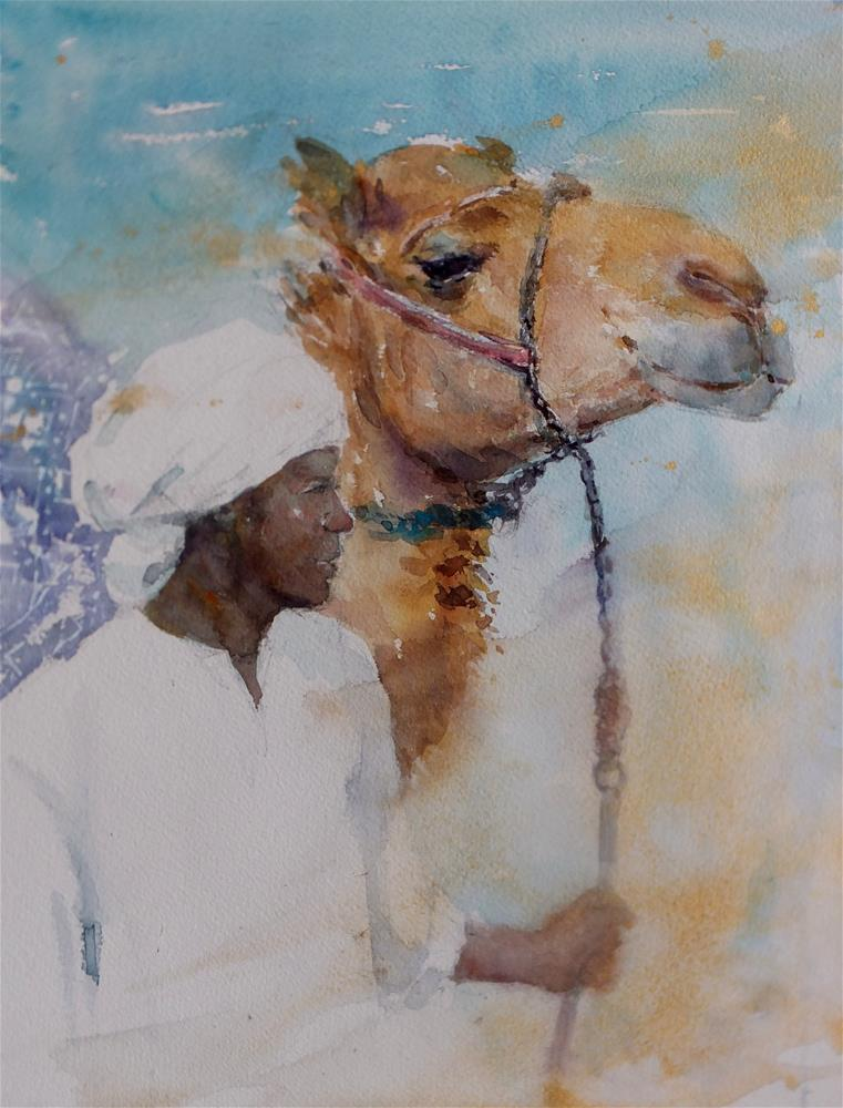 """""""Al Marmoom Camel Racetrack 3/7"""" original fine art by Midori Yoshino"""