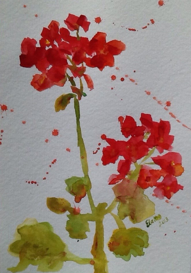 """Geranium"" original fine art by Elaine Ford"