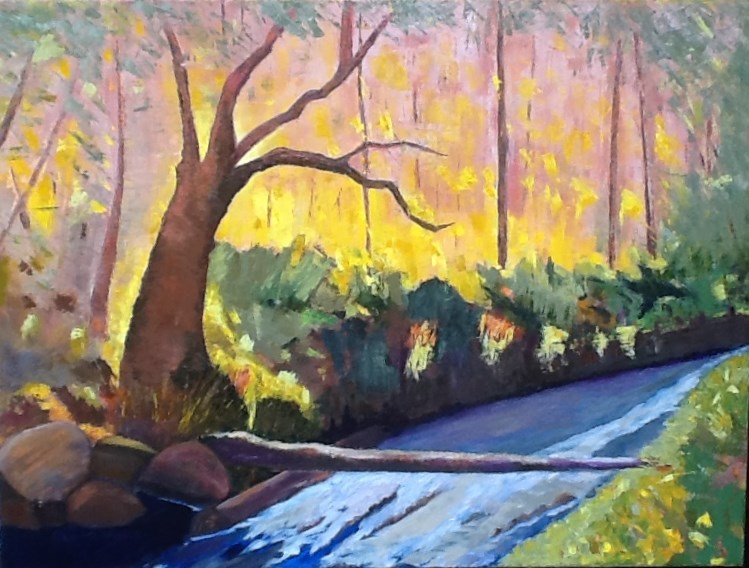 """SUNLIGHT DANCING THROUGH THE TREES"" original fine art by Charlotte Bankhead Hedrick"