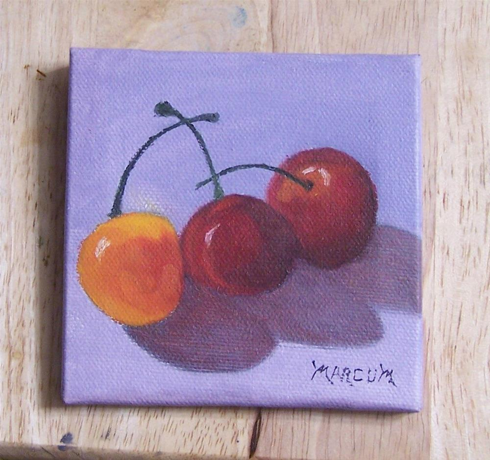 """Three Cherries"" original fine art by John Marcum"