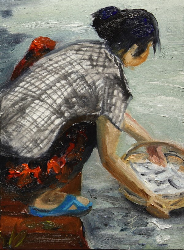 """Washing The Catch"" original fine art by Jane Frederick"