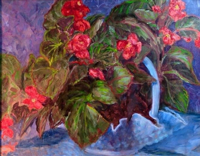 """Red Begonias with mothers milk glass"" original fine art by barbara yongue"