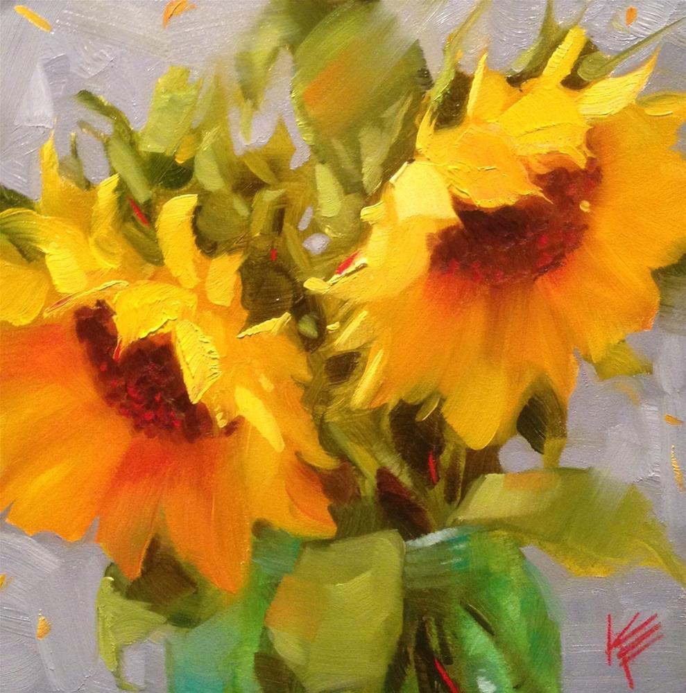 """""""Sunflowers in Blue II"""" original fine art by Krista Eaton"""