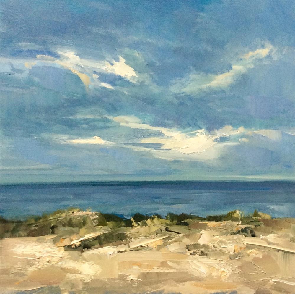 """""""Dancing clouds, high tide. """" original fine art by Anne Wood"""
