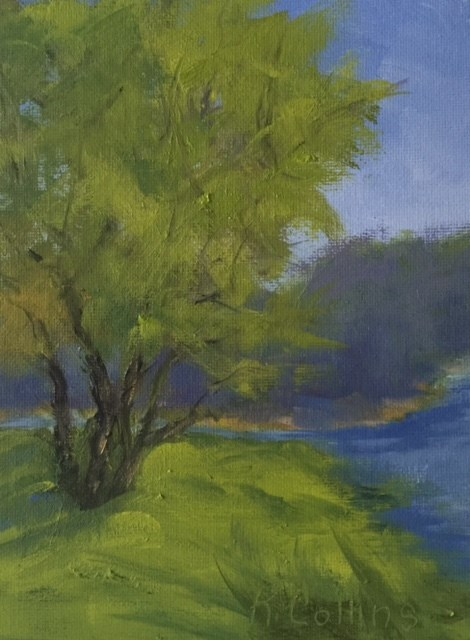 """Afternoon on Bass Lake"" original fine art by Kathy Collins"