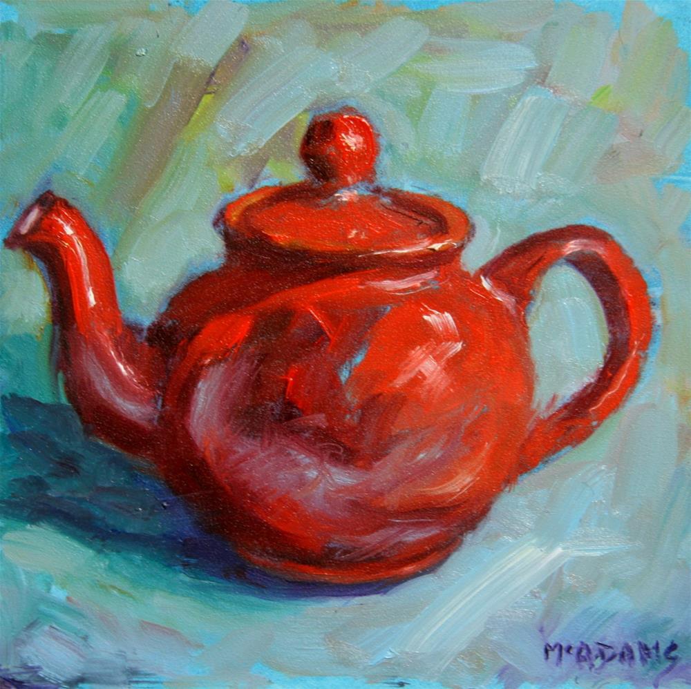 """Red Teapot"" original fine art by Phyllis McAdams"