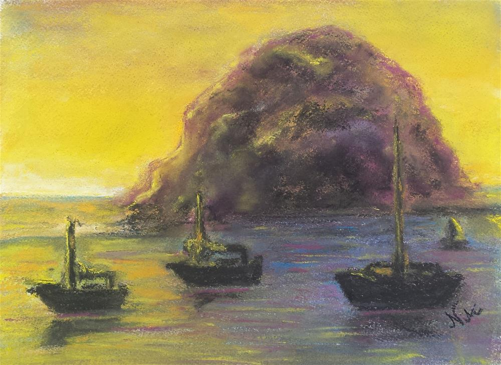 """Sunset at Morro Rock"" original fine art by Niki Hilsabeck"