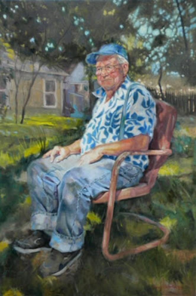 """Papa John"" original fine art by jerry hunsinger"
