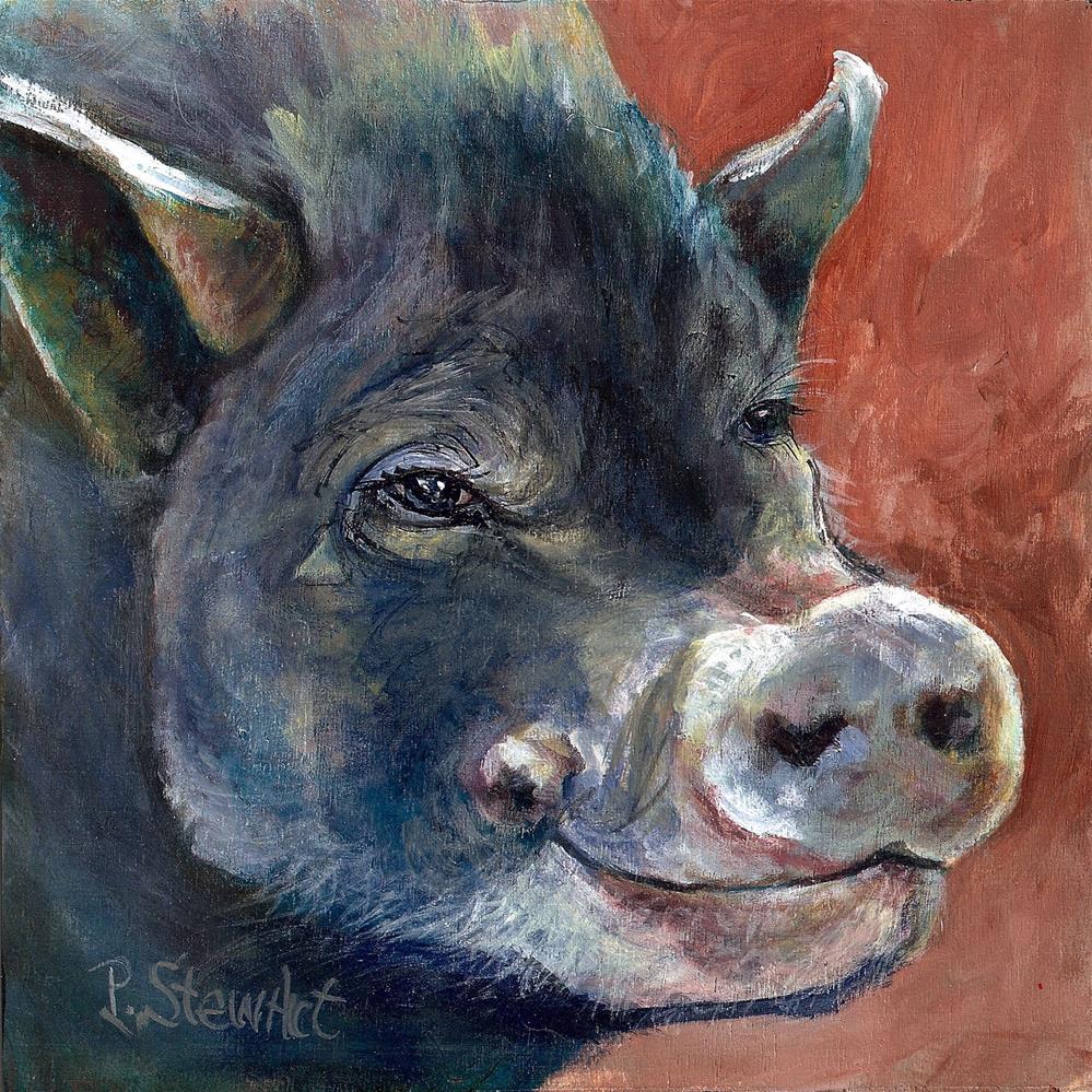 """""""8x8 Peaceful Pot Bellied Pig Painting Pet Portrait Porker SFA by Penny StewArt"""" original fine art by Penny Lee StewArt"""