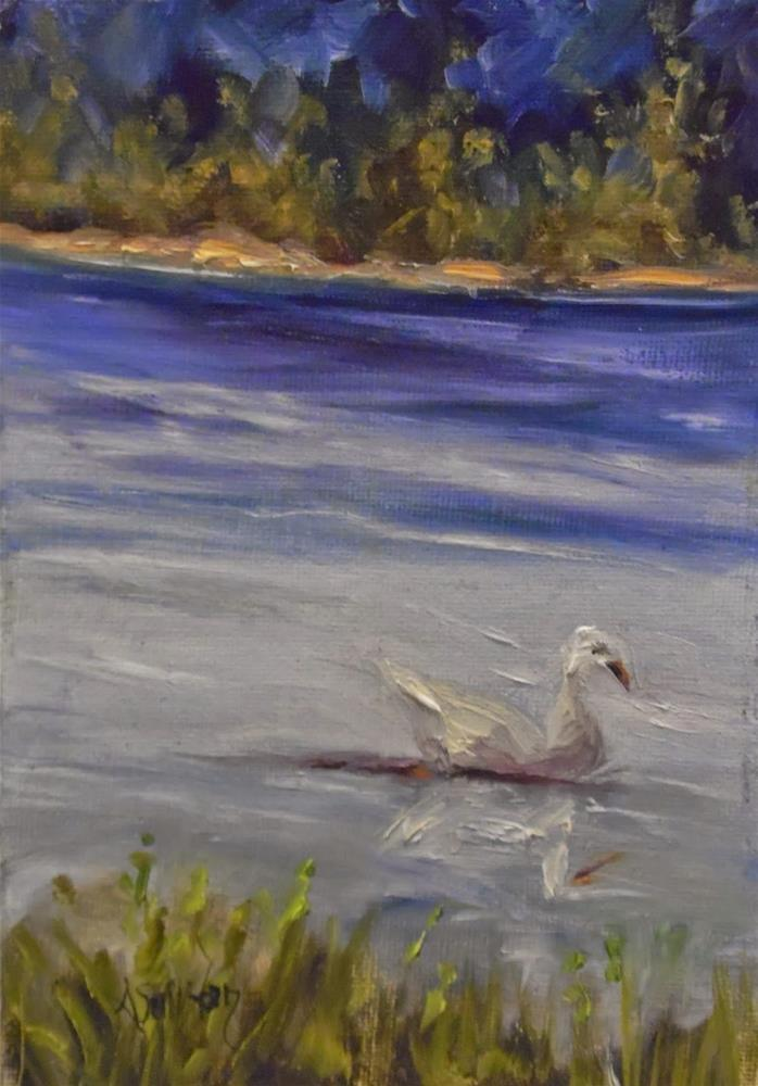 """Floating The Lake duck painting by Alabama Artist Angela Sullivan"" original fine art by Angela Sullivan"