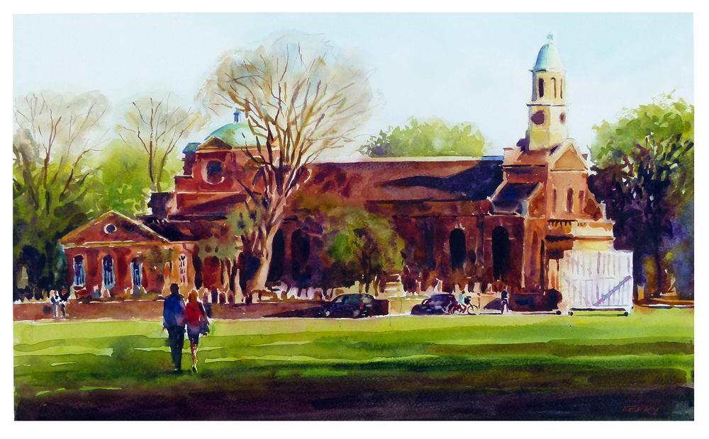 """St. Anne's Church, Kew green."" original fine art by Graham Berry"