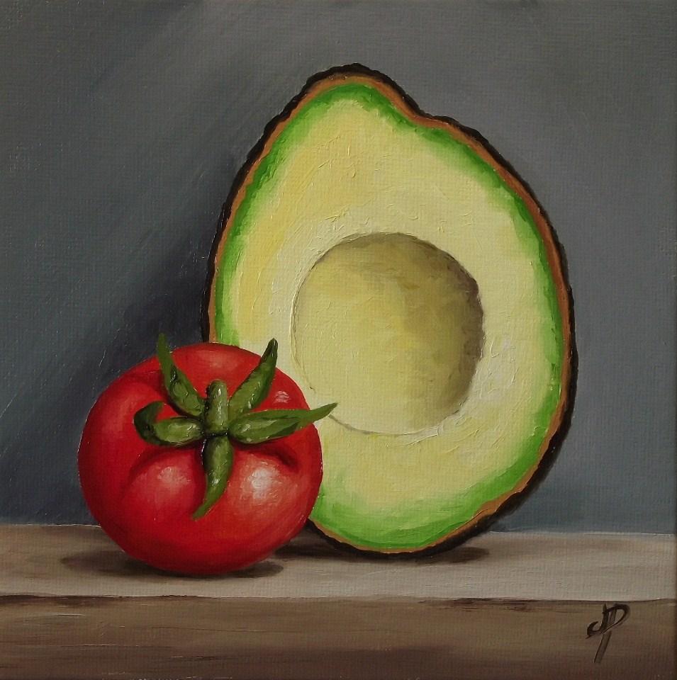 """Avocado and Tomato"" original fine art by Jane Palmer"