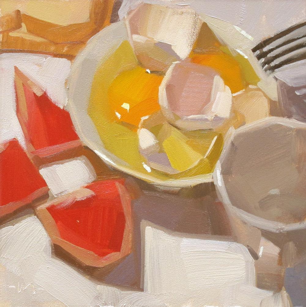 """Power Breakfast"" original fine art by Carol Marine"