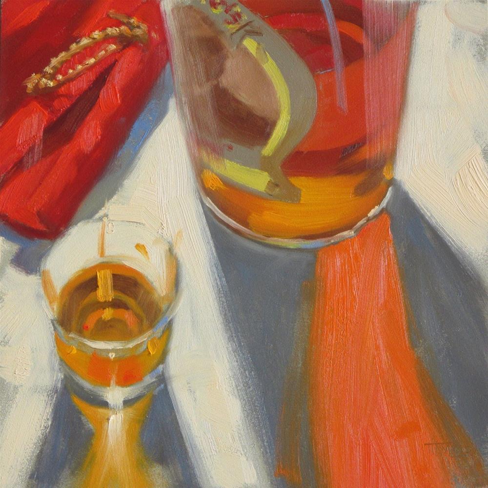 """Pappy aglow  8in x 8in oil"" original fine art by Claudia Hammer"