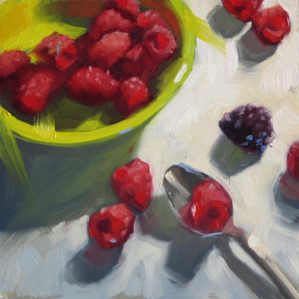 """The Odd Berry  6 x 6  oil"" original fine art by Claudia Hammer"