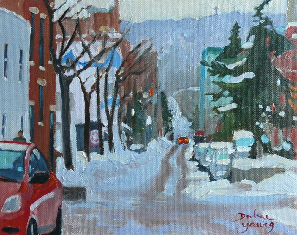 """889 Scene on Le Plateau Montreal, oil on board, 8x10"" original fine art by Darlene Young"
