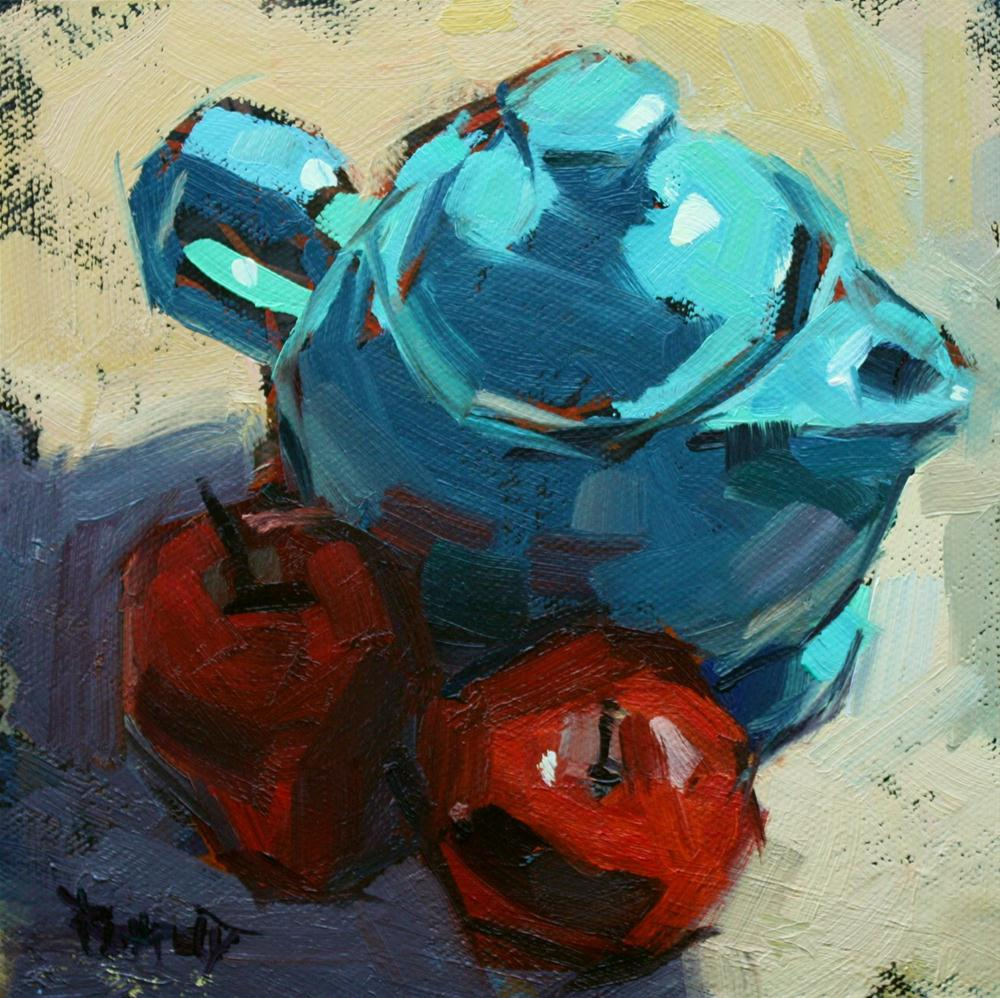 """Turquoise Tea and Apples in the Shadow"" original fine art by Cathleen Rehfeld"