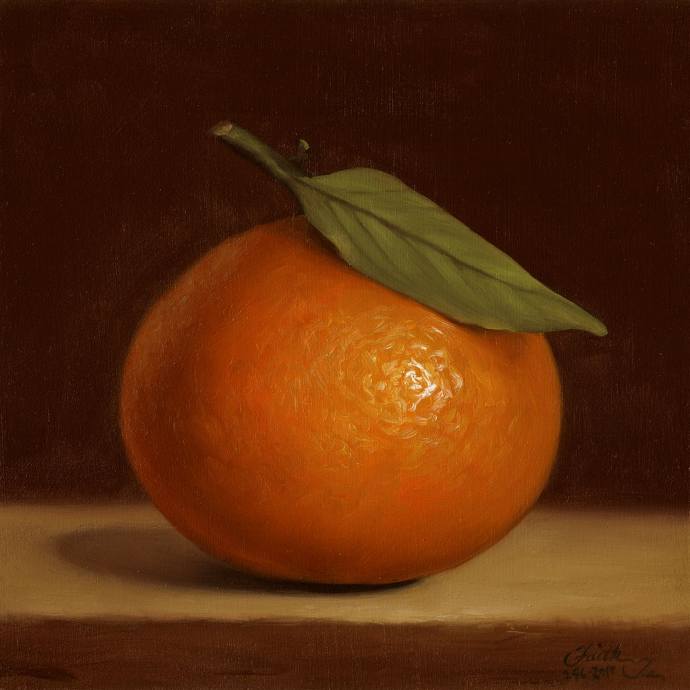 """Orange with Leaf"" original fine art by Faith Te"