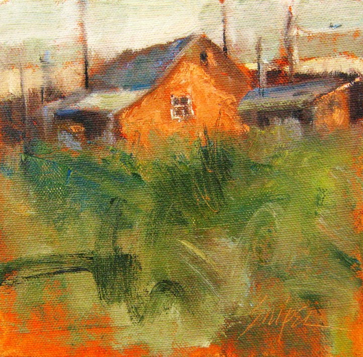 """February Farm Buildings"" original fine art by Connie Snipes"