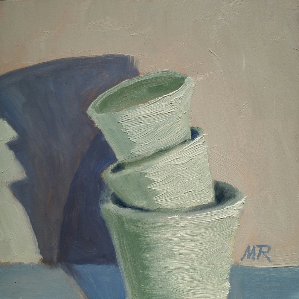 """Leaning Tower of Pottery"" original fine art by Michelle Rideout"