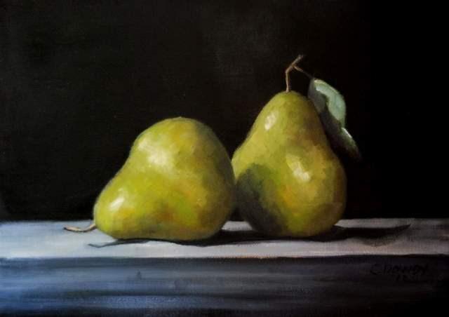 """Pears on Black"" original fine art by Christina Dowdy"