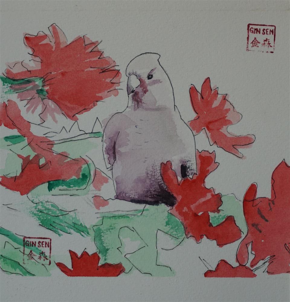 """Galah"" original fine art by Gin Sen"