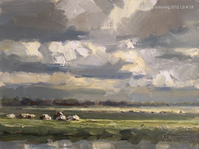 """Landscape spring #28 Clouds / Energy and light on cows - Koeien"" original fine art by Roos Schuring"