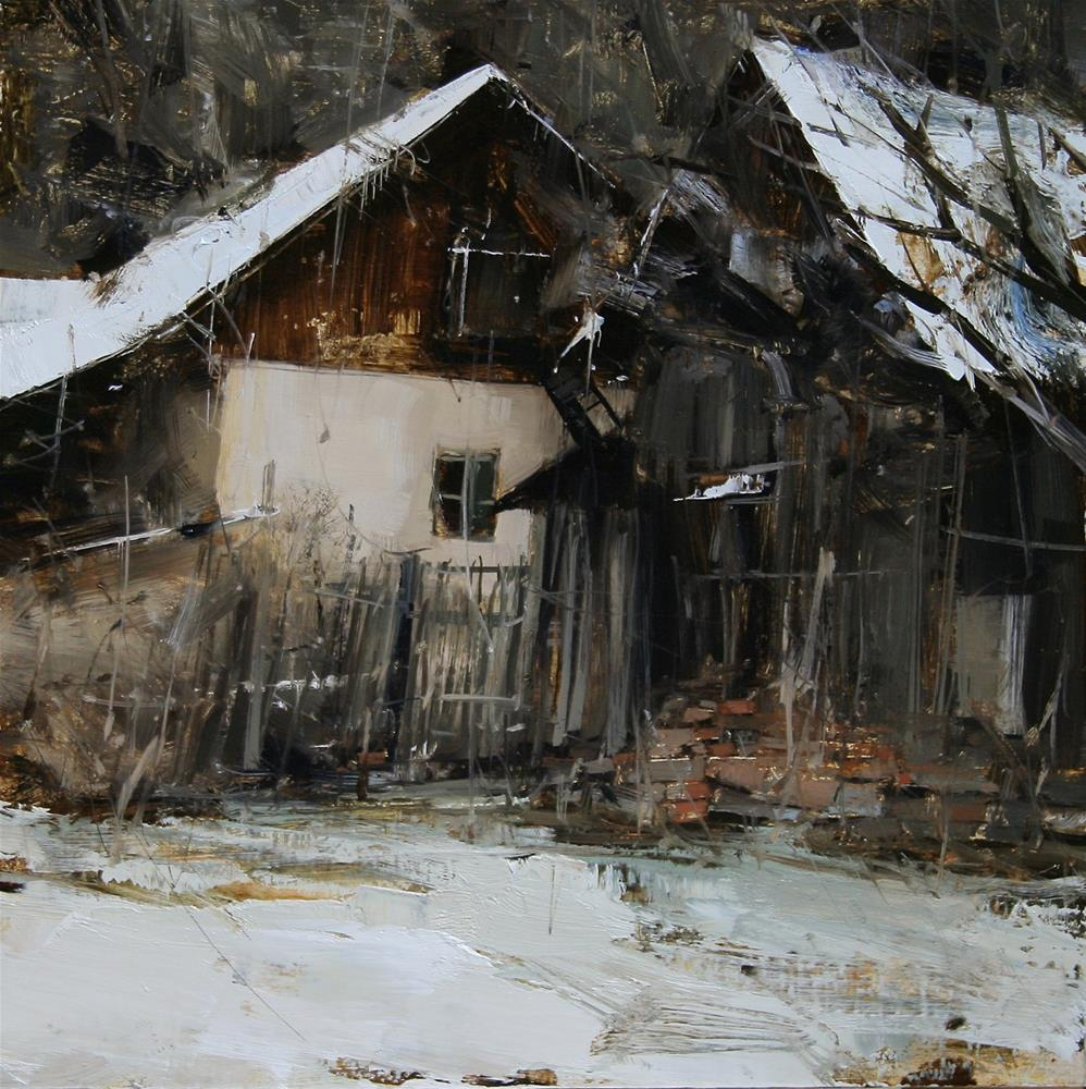 """Winter Backyard"" original fine art by Tibor Nagy"