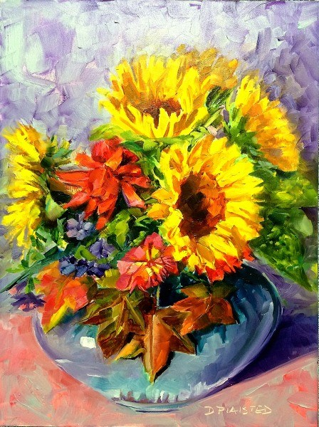 """Autumn Sunflowers"" original fine art by Diane Plaisted"