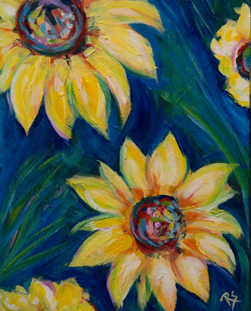 """Sunflowers in September"" original fine art by Roberta Schmidt"