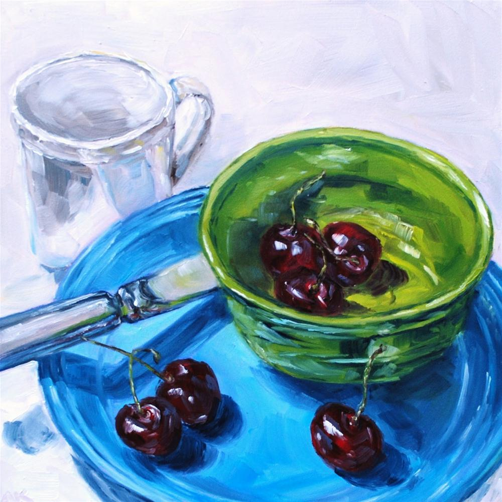 """Cherries for Breakfast"" original fine art by Alison Kolkebeck"